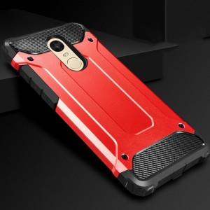 Противоударный двухкомпонентный силиконовый матовый непрозрачный чехол с нескользящими гранями и поликарбонатными вставками экстрим защиты с текстурным покрытием карбон для Xiaomi RedMi 5 Plus