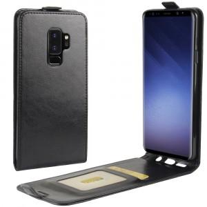Глянцевый водоотталкивающий чехол вертикальная книжка на силиконовой основе с отсеком для карт на магнитной защелке для Samsung Galaxy S9 Plus Черный