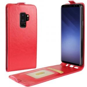 Глянцевый водоотталкивающий чехол вертикальная книжка на силиконовой основе с отсеком для карт на магнитной защелке для Samsung Galaxy S9 Plus Красный