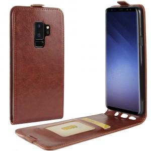 Глянцевый водоотталкивающий чехол вертикальная книжка на силиконовой основе с отсеком для карт на магнитной защелке для Samsung Galaxy S9 Plus Коричневый