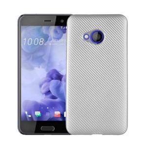 Силиконовый глянцевый непрозрачный чехол с улучшенной защитой торцов и текстурным покрытием Карбон для HTC U Play
