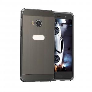 Двухкомпонентный чехол c металлическим бампером с поликарбонатной накладкой и текстурным покрытием Металл для HTC U Play Черный