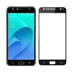 Полноэкранное ультратонкое износоустойчивое сколостойкое олеофобное защитное стекло-пленка для ASUS ZenFone 4 Selfie  Черный