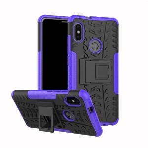 Противоударный двухкомпонентный силиконовый матовый непрозрачный чехол с нескользящими гранями и поликарбонатными вставками экстрим защиты с встроенной ножкой-подставкой для XIaomi RedMi Note 5/5 Pro Фиолетовый
