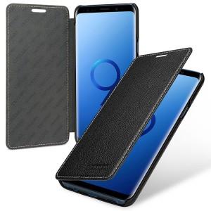 Кожаный чехол горизонтальная книжка (премиум нат. кожа) для Samsung Galaxy S9 Plus Черный