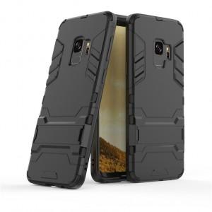 Противоударный двухкомпонентный силиконовый матовый непрозрачный чехол с поликарбонатными вставками экстрим защиты с встроенной ножкой-подставкой для Samsung Galaxy S9 Plus  Черный