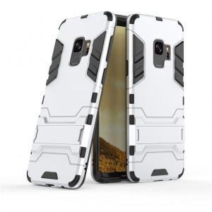 Противоударный двухкомпонентный силиконовый матовый непрозрачный чехол с поликарбонатными вставками экстрим защиты с встроенной ножкой-подставкой для Samsung Galaxy S9 Plus  Белый