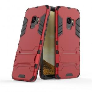 Противоударный двухкомпонентный силиконовый матовый непрозрачный чехол с поликарбонатными вставками экстрим защиты с встроенной ножкой-подставкой для Samsung Galaxy S9 Plus  Красный