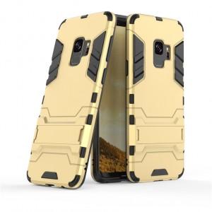 Противоударный двухкомпонентный силиконовый матовый непрозрачный чехол с поликарбонатными вставками экстрим защиты с встроенной ножкой-подставкой для Samsung Galaxy S9 Plus  Бежевый
