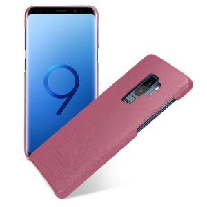 Кожаный чехол накладка (премиум нат. кожа) для Samsung Galaxy S9 Plus  Розовый