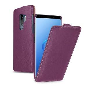 Кожаный чехол вертикальная книжка (премиум нат. кожа) для Samsung Galaxy S9 Plus  Фиолетовый