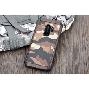 Противоударный двухкомпонентный силиконовый матовый непрозрачный чехол с нескользящими гранями и поликарбонатными вставками текстура Камуфляж для Samsung Galaxy S9 Plus  Коричневый