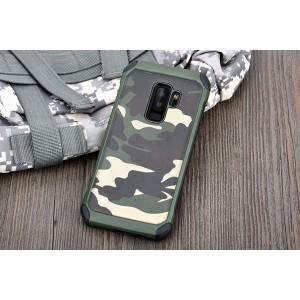 Противоударный двухкомпонентный силиконовый матовый непрозрачный чехол с нескользящими гранями и поликарбонатными вставками текстура Камуфляж для Samsung Galaxy S9 Plus  Зеленый
