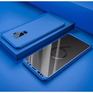 Пластиковый непрозрачный матовый чехол сборного типа с улучшенной защитой элементов корпуса для Samsung Galaxy S9 Plus Синий