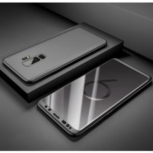 Пластиковый непрозрачный матовый чехол сборного типа с улучшенной защитой элементов корпуса для Samsung Galaxy S9 Plus Черный