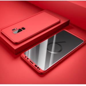 Пластиковый непрозрачный матовый чехол сборного типа с улучшенной защитой элементов корпуса для Samsung Galaxy S9 Plus Красный