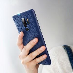 Чехол накладка текстурная отделка Плетеная Кожа для Samsung Galaxy S9 Plus Синий