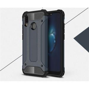 Противоударный двухкомпонентный силиконовый матовый непрозрачный чехол с поликарбонатными вставками экстрим защиты для Huawei P20 Lite