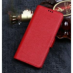 Кожаный чехол портмоне подставка (премиум нат. кожа) на пластиковой основе с магнитной застежкой для Huawei P20 Lite