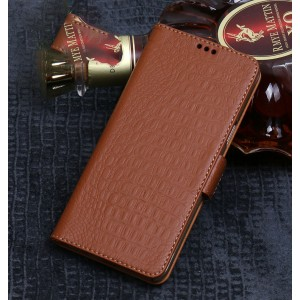 Кожаный чехол портмоне подставка (премиум нат. кожа крокодила) с магнитной застежкой для Huawei P20 Lite