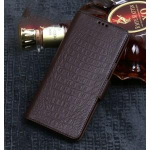 Кожаный чехол портмоне подставка (премиум нат. кожа крокодила) на пластиковой основе с магнитной застежкой для Huawei P20 Lite