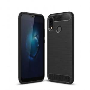 Силиконовый матовый непрозрачный чехол с текстурным покрытием Металлик для Huawei P20 Lite