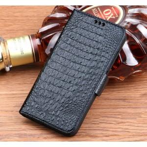 Кожаный чехол горизонтальная книжка подставка (премиум нат. кожа крокодила) с магнитной застежкой для Huawei Honor 9 Черный