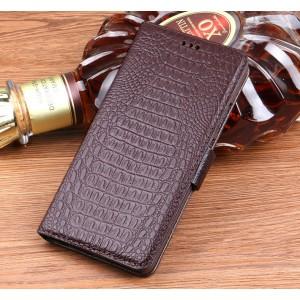 Кожаный чехол горизонтальная книжка подставка (премиум нат. кожа крокодила) с магнитной застежкой для Huawei Honor 9 Коричневый