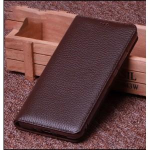 Кожаный чехол горизонтальная книжка подставка (премиум нат. кожа) на силиконовой основе для ASUS ZenFone 5 Lite  Коричневый