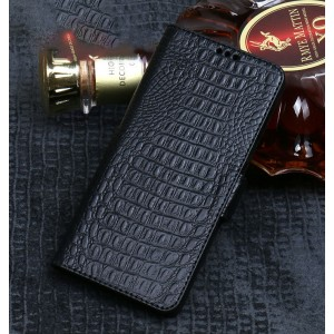Кожаный чехол портмоне подставка (премиум нат. кожа крокодила) с крепежной застежкой для Xiaomi RedMi Note 5/5 Pro