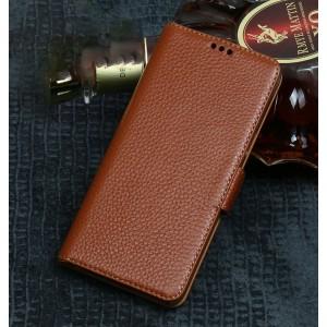 Кожаный чехол портмоне подставка (премиум нат. кожа) с крепежной застежкой для Xiaomi RedMi Note 5/5 Pro Бежевый