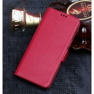 Кожаный чехол портмоне подставка (премиум нат. кожа) с крепежной застежкой для Xiaomi RedMi Note 5/5 Pro