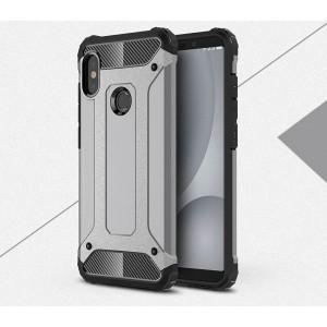 Противоударный двухкомпонентный силиконовый матовый непрозрачный чехол с поликарбонатными вставками экстрим защиты для Xiaomi RedMi Note 5/5 Pro Серый