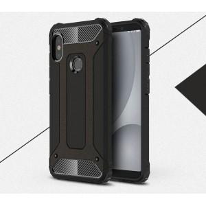 Противоударный двухкомпонентный силиконовый матовый непрозрачный чехол с поликарбонатными вставками экстрим защиты для Xiaomi RedMi Note 5/5 Pro Черный