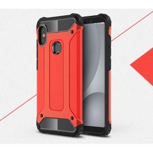 Противоударный двухкомпонентный силиконовый матовый непрозрачный чехол с поликарбонатными вставками экстрим защиты для Xiaomi RedMi Note 5/5 Pro Красный