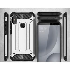 Противоударный двухкомпонентный силиконовый матовый непрозрачный чехол с поликарбонатными вставками экстрим защиты для Xiaomi RedMi Note 5/5 Pro Белый