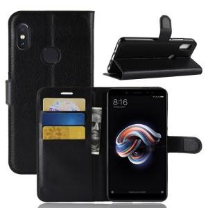 Чехол портмоне подставка на силиконовой основе с отсеком для карт на магнитной защелке для Xiaomi RedMi Note 5/5 Pro Черный