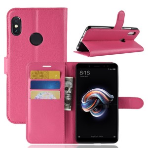 Чехол портмоне подставка на силиконовой основе с отсеком для карт на магнитной защелке для Xiaomi RedMi Note 5/5 Pro Пурпурный