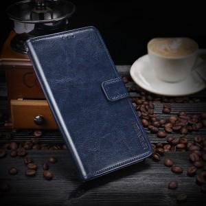 Глянцевый водоотталкивающий чехол портмоне подставка на силиконовой основе с отсеком для карт на магнитной защелке для Xiaomi RedMi Note 5/5 Pro Синий