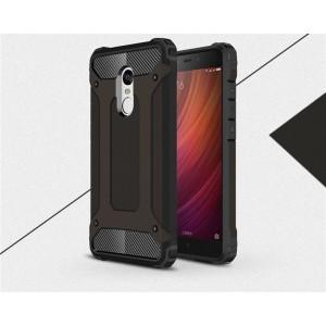 Противоударный двухкомпонентный силиконовый матовый непрозрачный чехол с поликарбонатными вставками экстрим защиты для Xiaomi RedMi Note 4X Черный