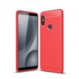 Силиконовый матовый непрозрачный чехол с текстурным покрытием Металлик для Xiaomi RedMi Note 5/5 Pro Красный