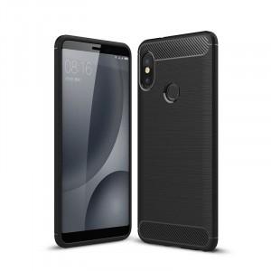 Силиконовый матовый непрозрачный чехол с текстурным покрытием Металлик для Xiaomi RedMi Note 5/5 Pro Черный