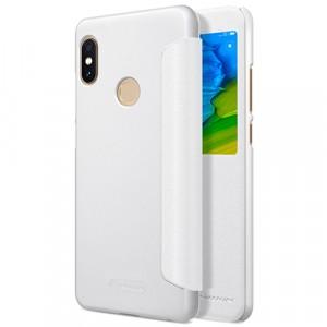 Чехол горизонтальная книжка на пластиковой нескользящей премиум основе с окном вызова для Xiaomi RedMi Note 5/5 Pro Белый