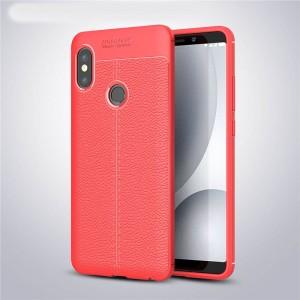 Силиконовый матовый непрозрачный чехол с текстурным покрытием Кожа для Xiaomi RedMi Note 5/5 Pro Красный