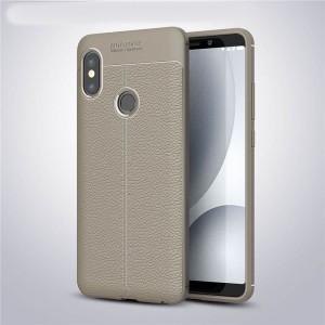 Силиконовый матовый непрозрачный чехол с текстурным покрытием Кожа для Xiaomi RedMi Note 5/5 Pro Серый