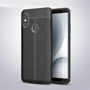 Силиконовый матовый непрозрачный чехол с текстурным покрытием Кожа для Xiaomi RedMi Note 5/5 Pro Черный