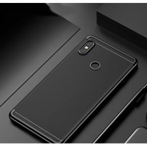 Силиконовый глянцевый полупрозрачный чехол с текстурным покрытием Металлик для Xiaomi RedMi Note 5/5 Pro Черный