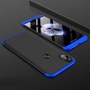 Пластиковый непрозрачный матовый чехол сборного типа для Xiaomi RedMi Note 5/5 Pro Синий