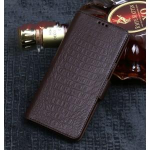 Кожаный чехол портмоне подставка (премиум нат. кожа крокодила) с крепежной застежкой для ASUS ZenFone 5 ZE620KL/5Z Коричневый