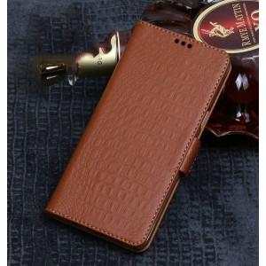 Кожаный чехол портмоне подставка (премиум нат. кожа крокодила) с крепежной застежкой для ASUS ZenFone 5 ZE620KL/5Z Бежевый
